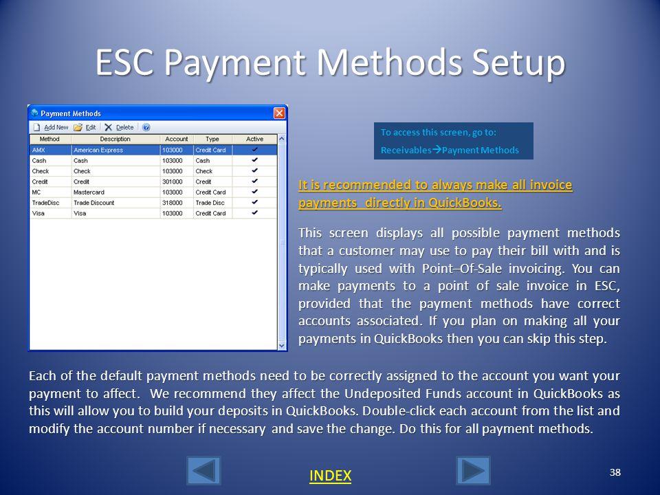 ESC Payment Methods Setup