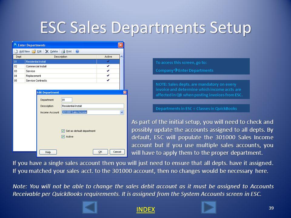 ESC Sales Departments Setup