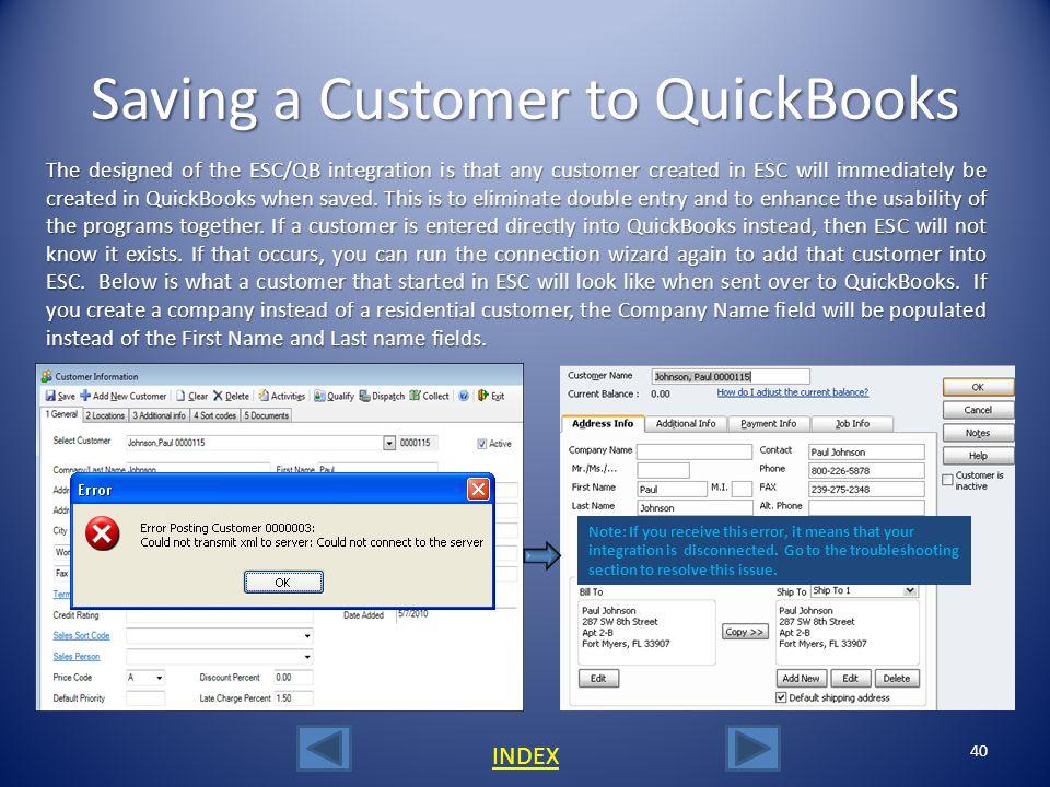 Saving a Customer to QuickBooks