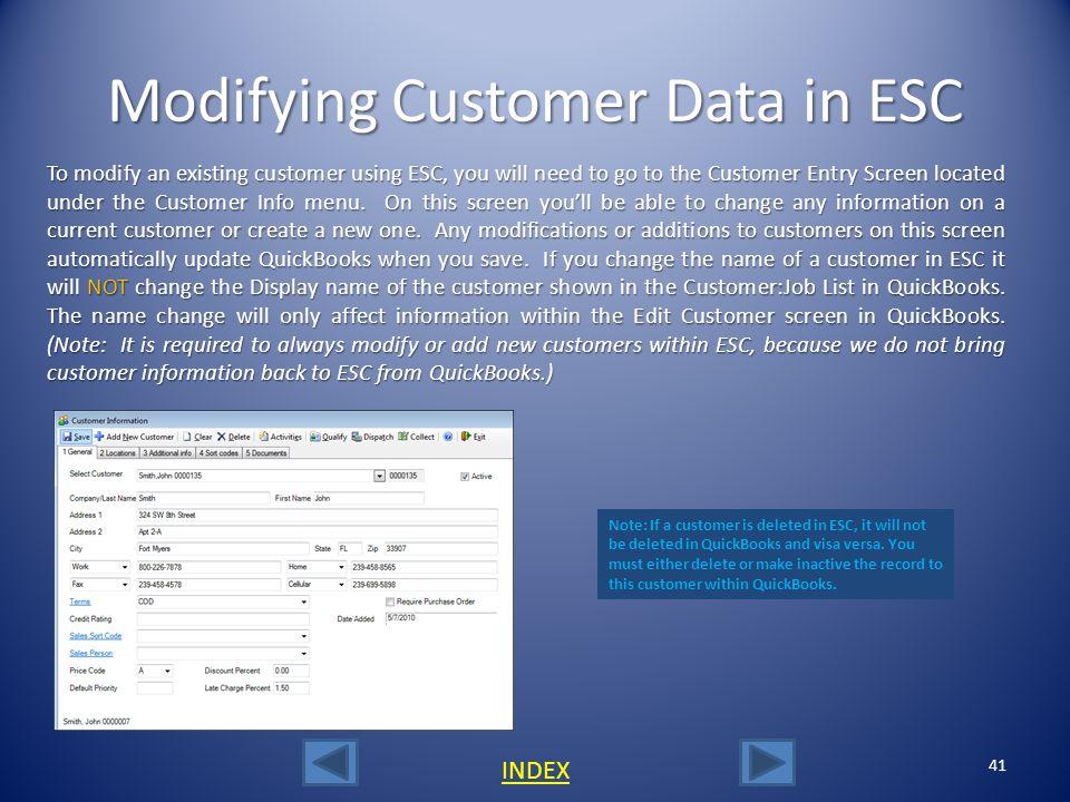 Modifying Customer Data in ESC