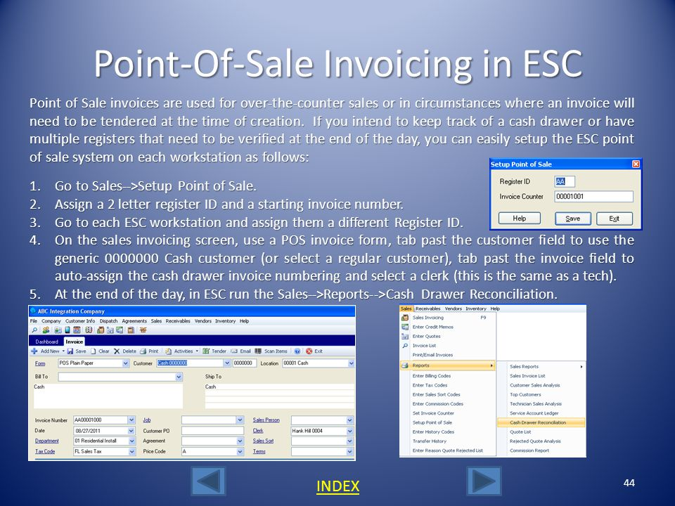 Point-Of-Sale Invoicing in ESC