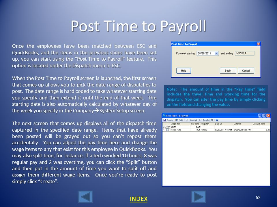 Post Time to Payroll INDEX
