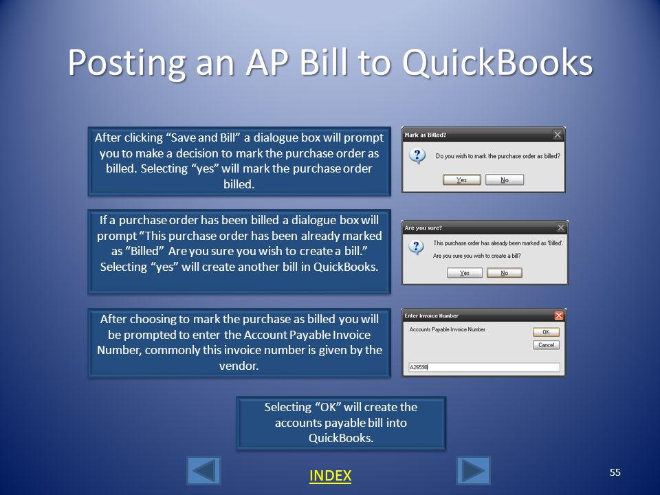 Posting an AP Bill to QuickBooks