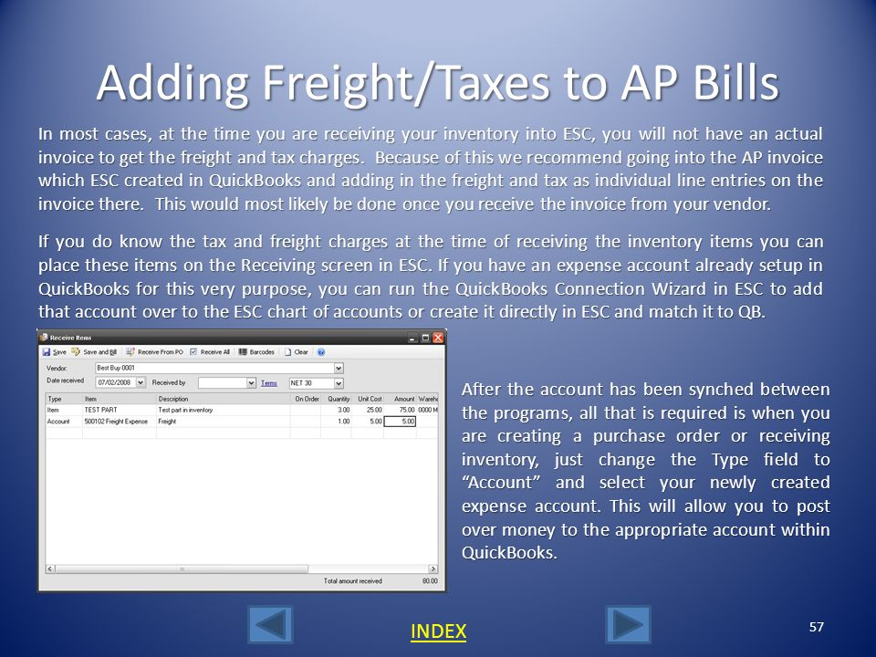 Adding Freight/Taxes to AP Bills