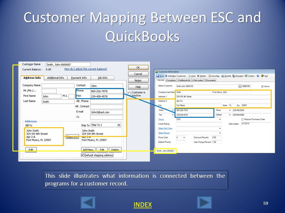 Customer Mapping Between ESC and QuickBooks