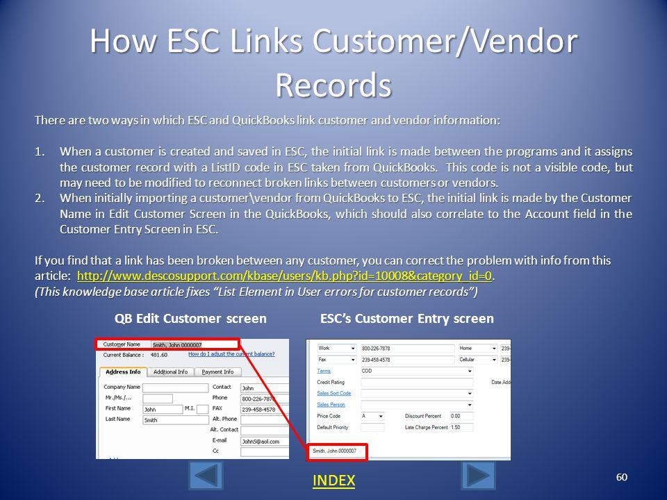 How ESC Links Customer/Vendor Records