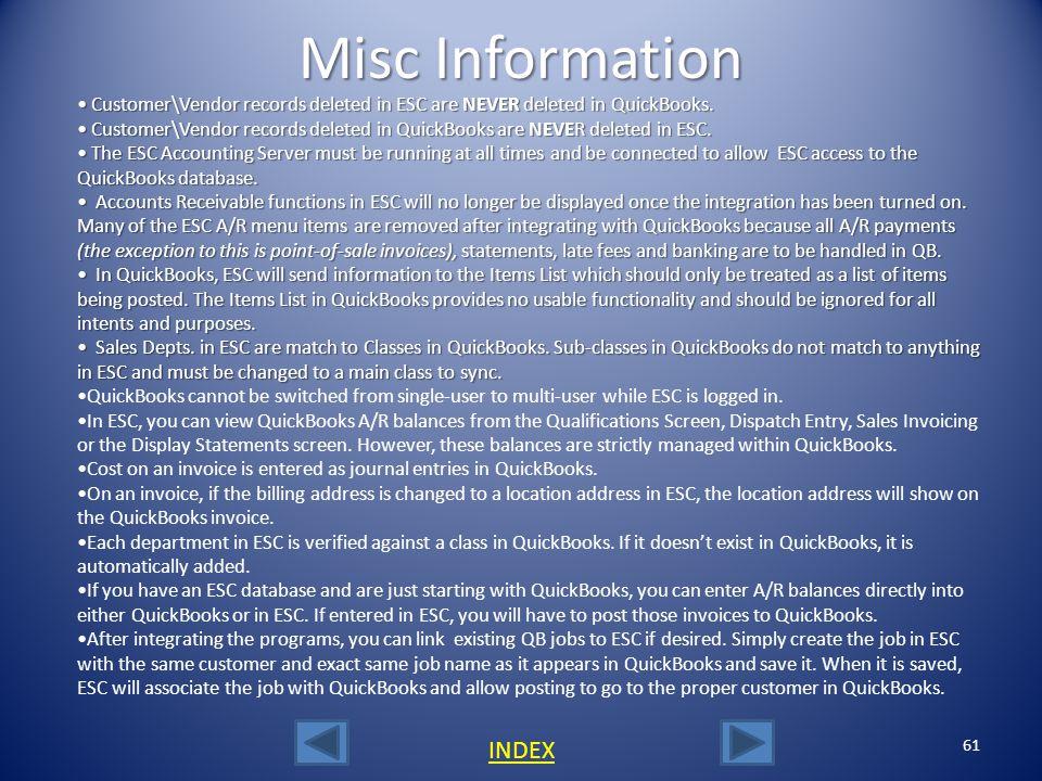 Misc Information INDEX