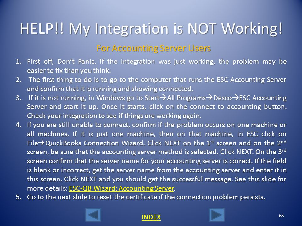 HELP!! My Integration is NOT Working!