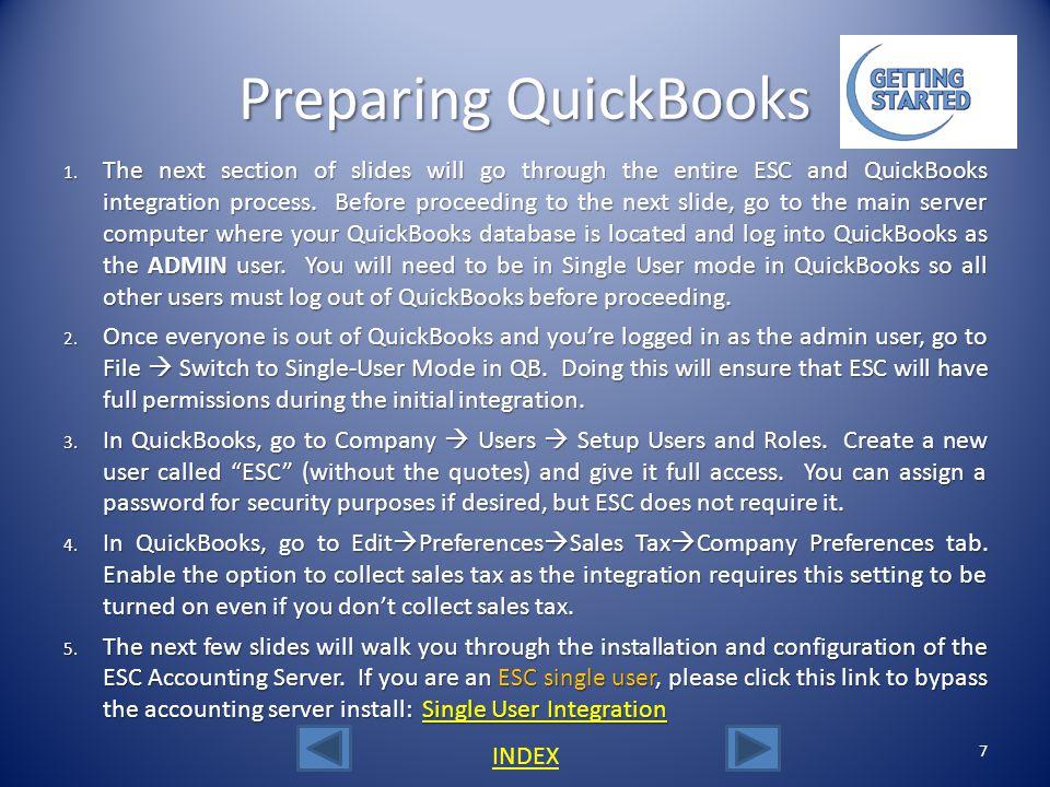 Preparing QuickBooks