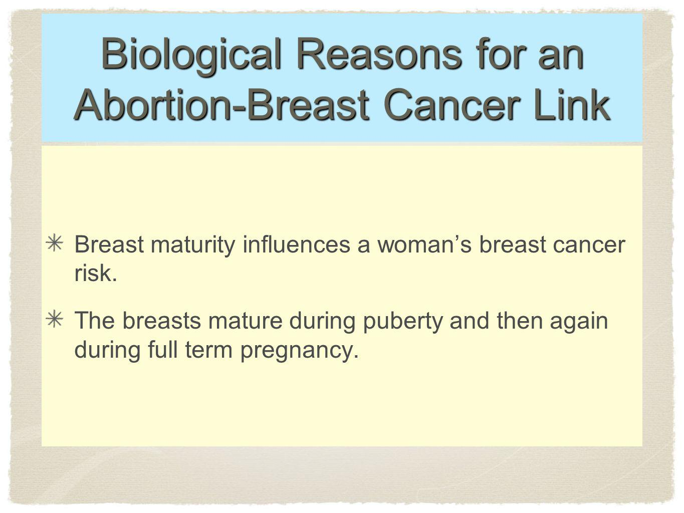Biological Reasons for an Abortion-Breast Cancer Link