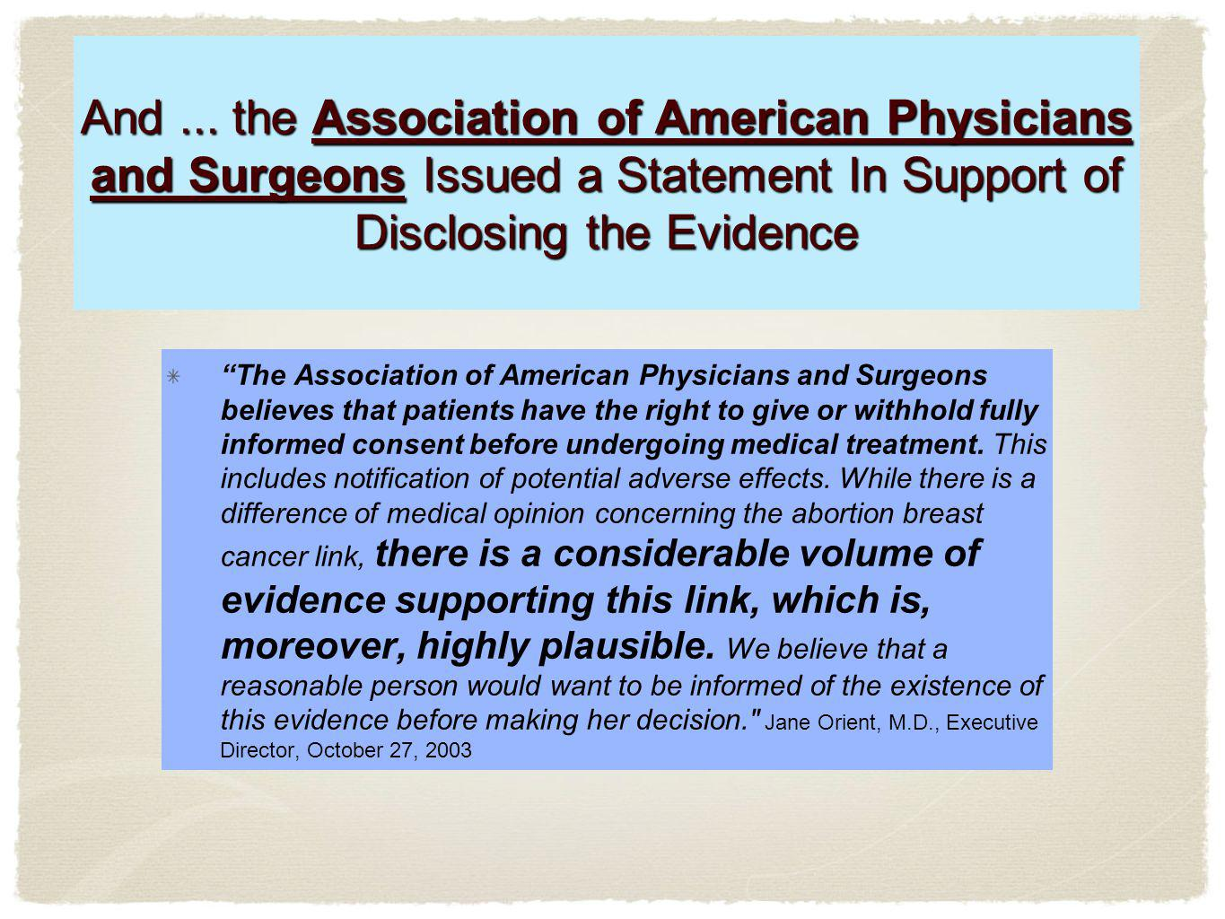 And ... the Association of American Physicians and Surgeons Issued a Statement In Support of Disclosing the Evidence