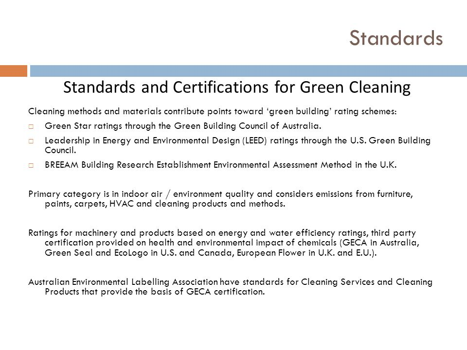 Standards and Certifications for Green Cleaning