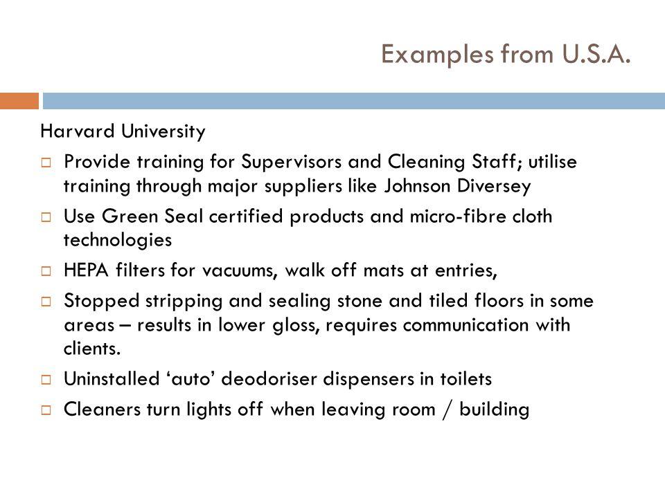 Examples from U.S.A. Harvard University
