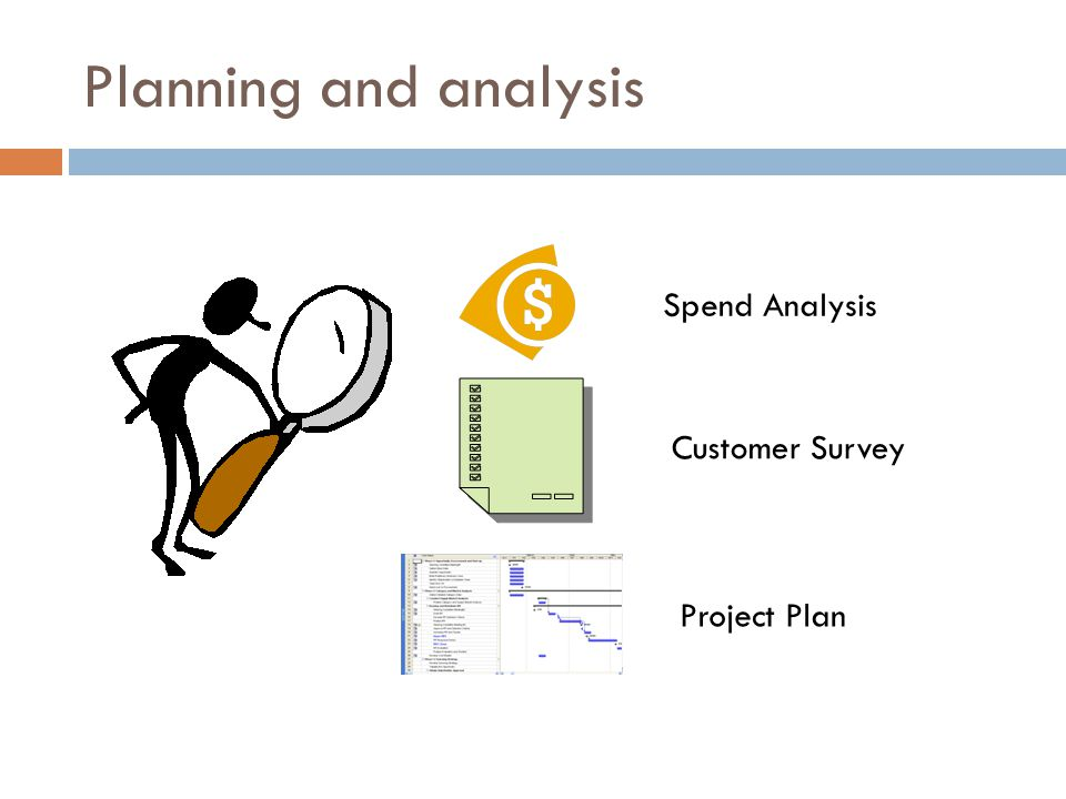 Planning and analysis Spend Analysis Customer Survey Project Plan