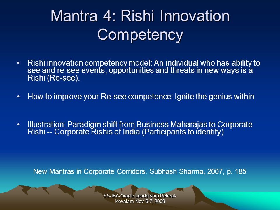 Mantra 4: Rishi Innovation Competency