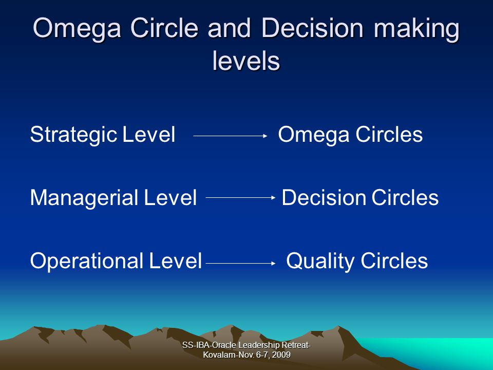 Omega Circle and Decision making levels