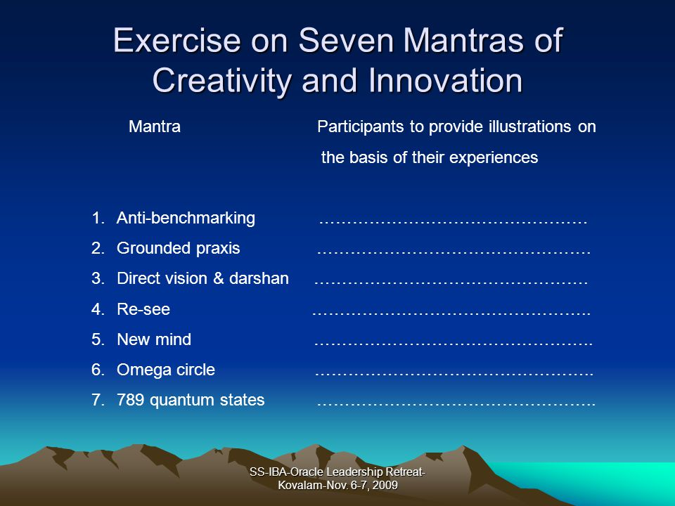 Exercise on Seven Mantras of Creativity and Innovation