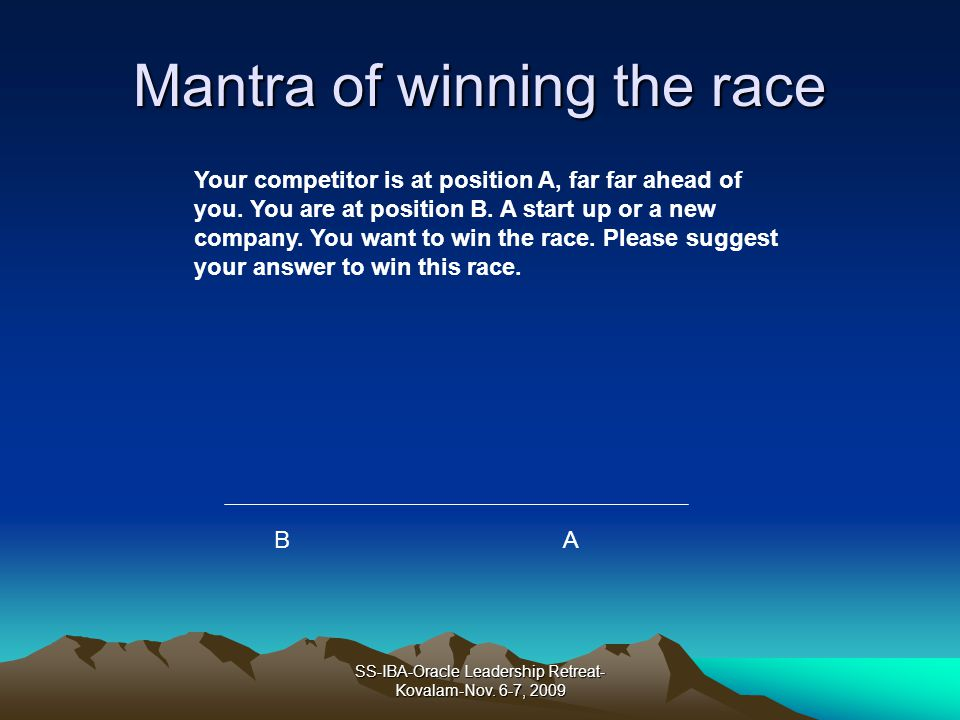 Mantra of winning the race