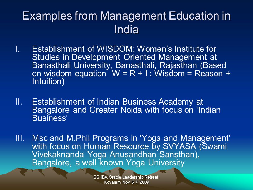 Examples from Management Education in India