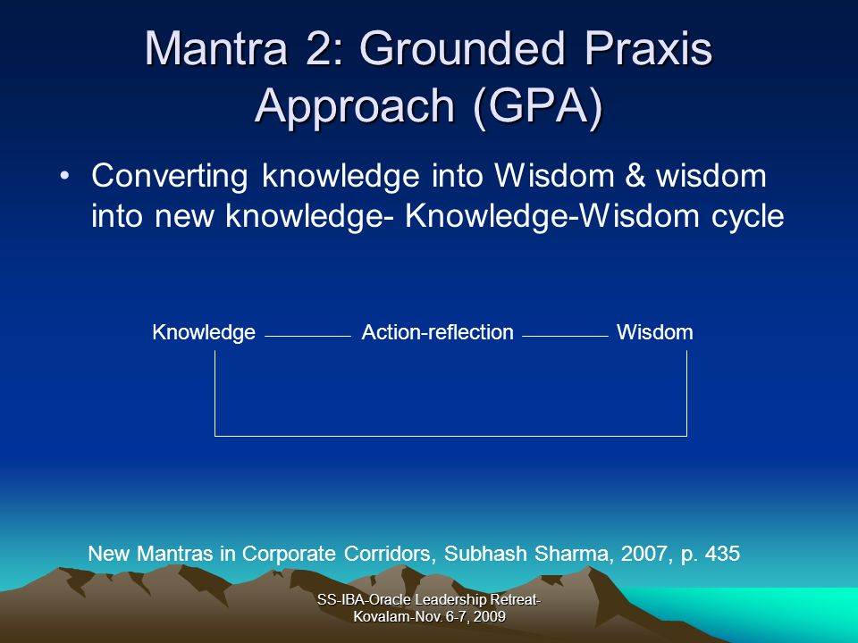 Mantra 2: Grounded Praxis Approach (GPA)