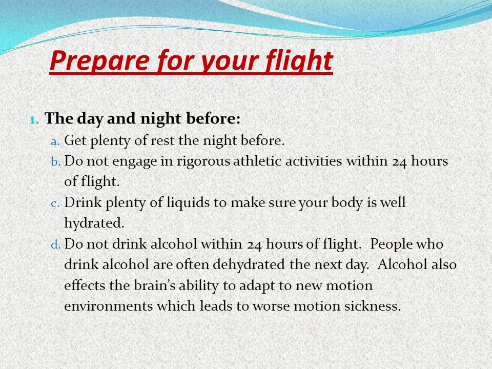 Prepare for your flight