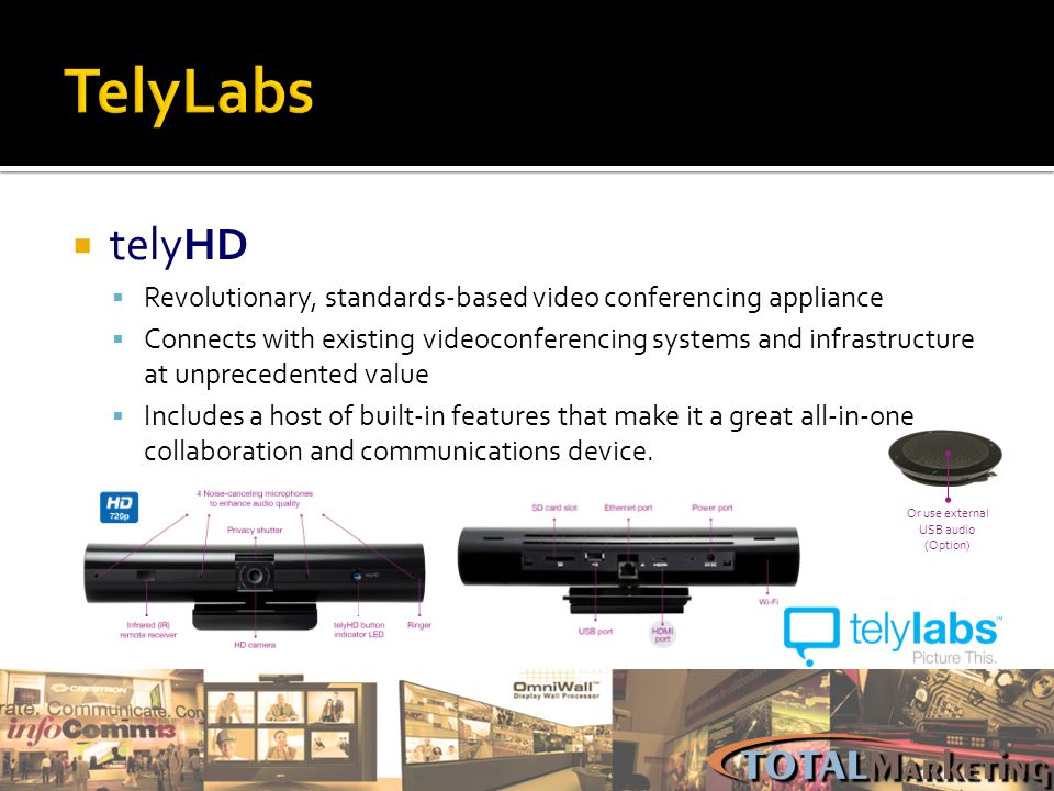 TelyLabs telyHD. Revolutionary, standards-based video conferencing appliance.