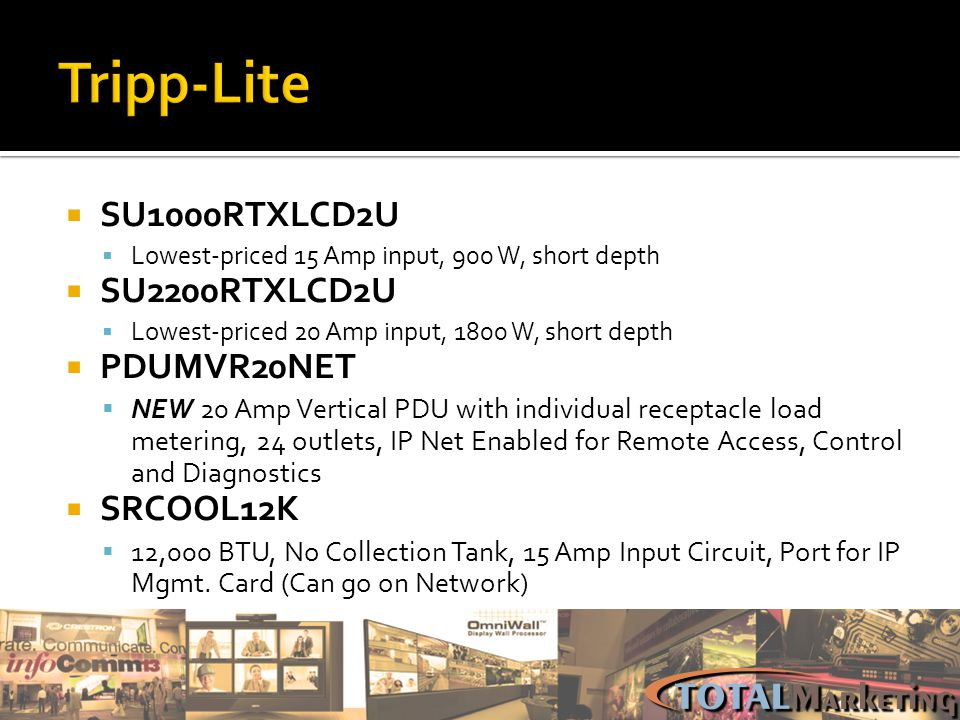 Tripp-Lite SU1000RTXLCD2U SU2200RTXLCD2U PDUMVR20NET SRCOOL12K