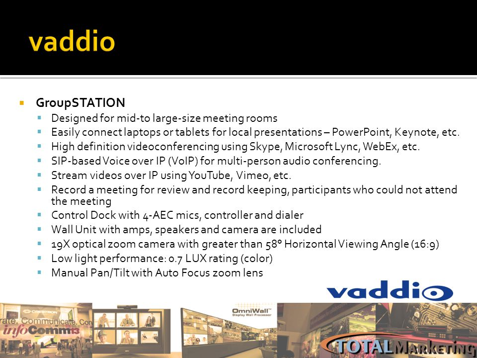 vaddio GroupSTATION Designed for mid-to large-size meeting rooms