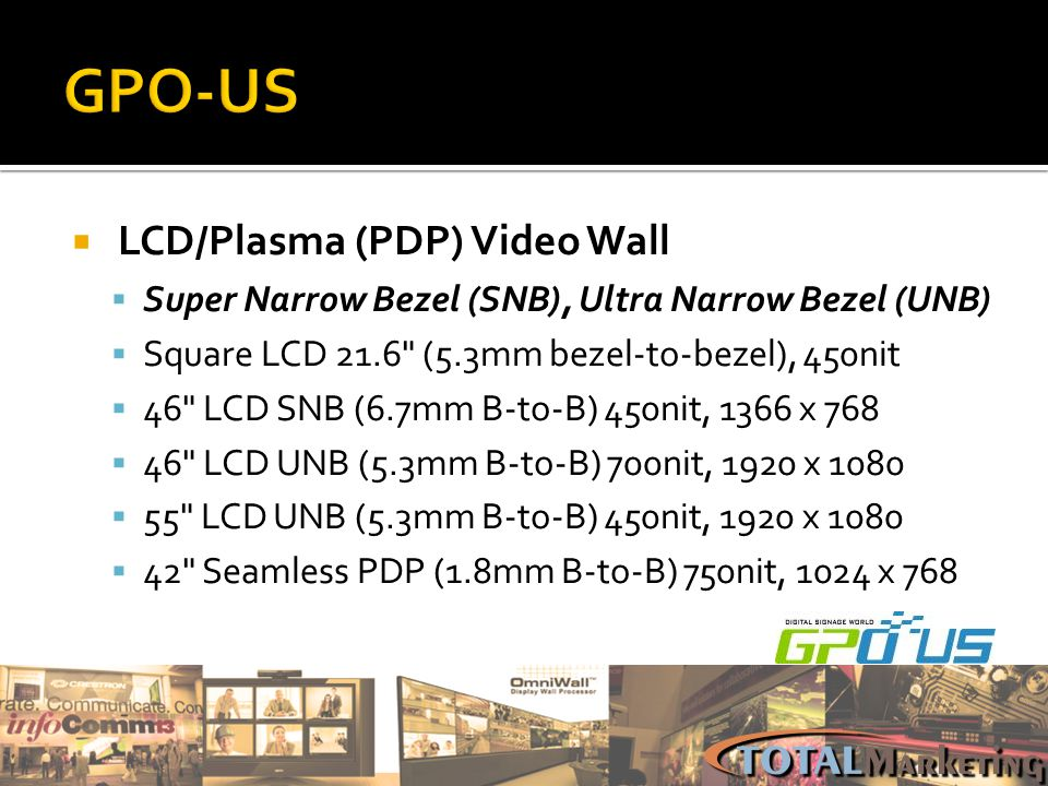 GPO-US LCD/Plasma (PDP) Video Wall