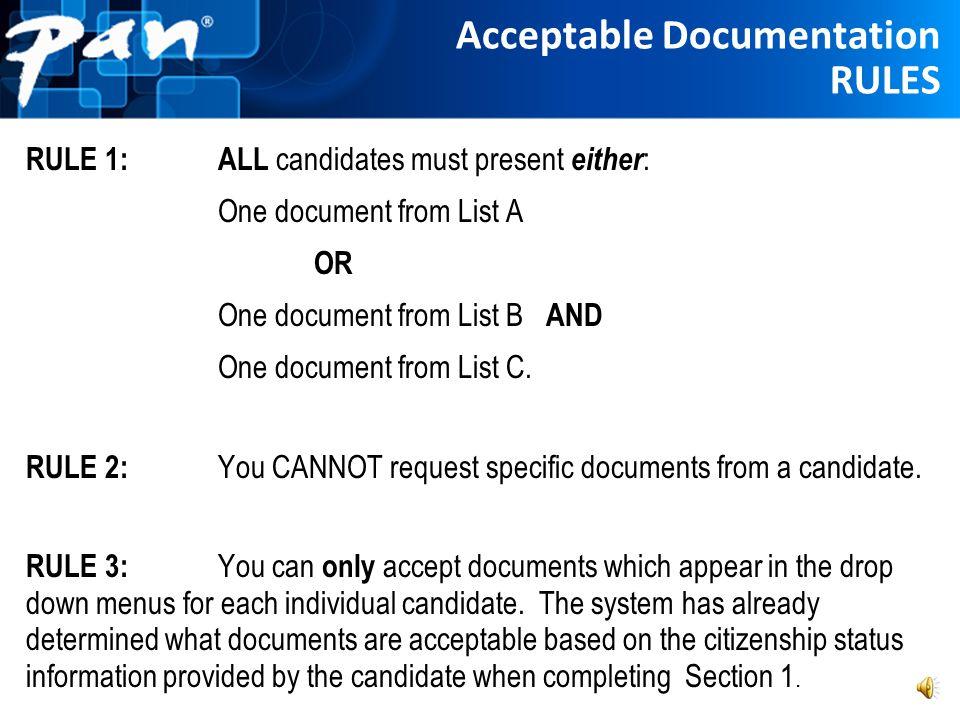 Acceptable Documentation RULES
