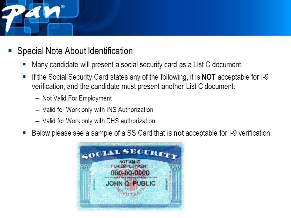 Special Note About Identification