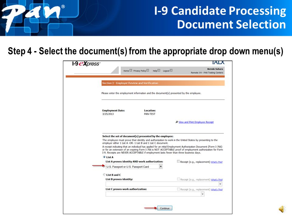 I-9 Candidate Processing Document Selection