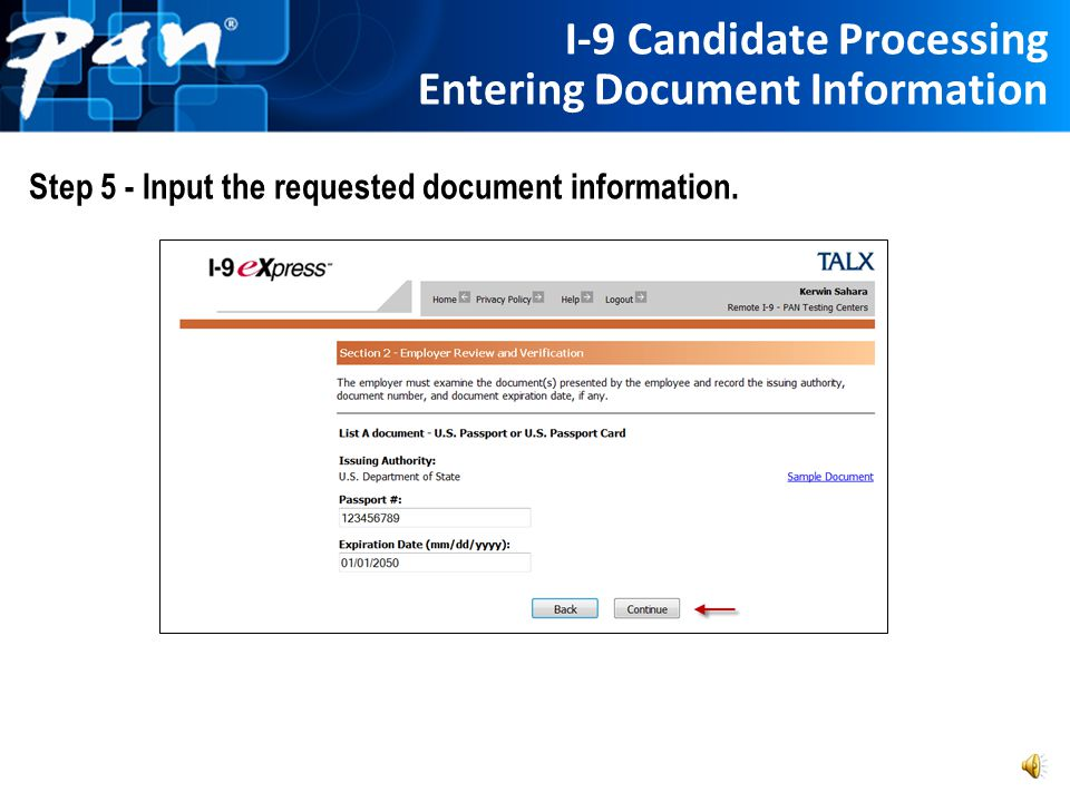 I-9 Candidate Processing Entering Document Information