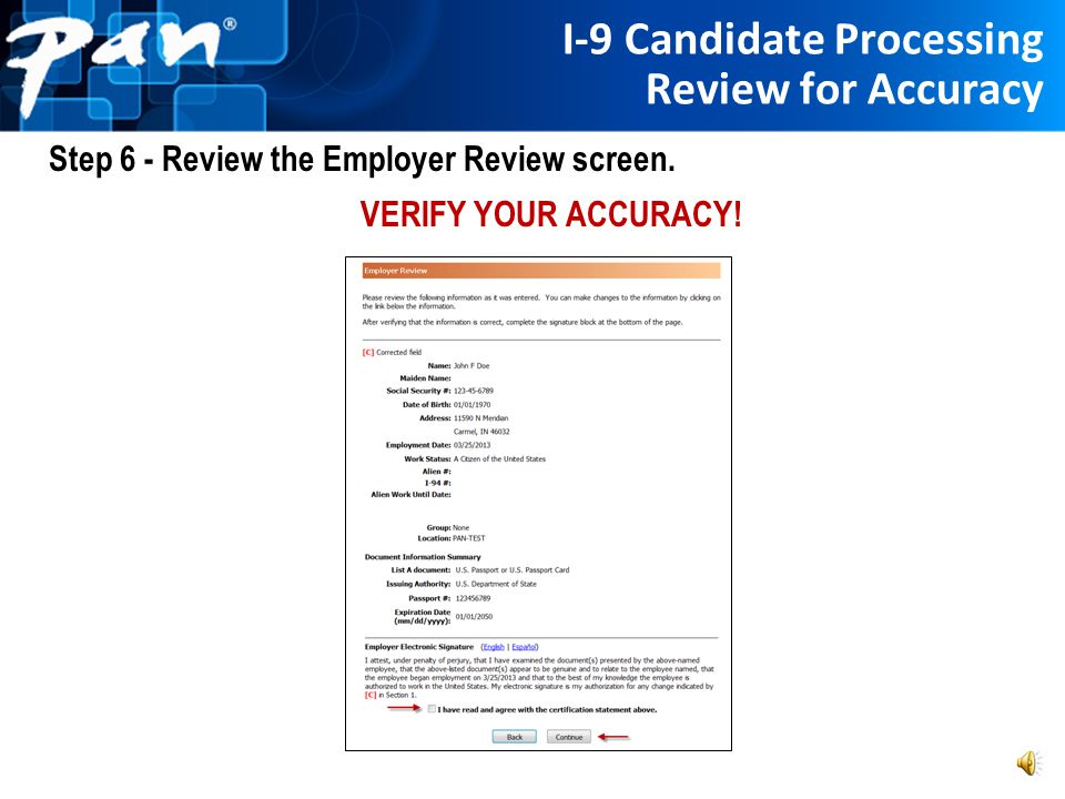 I-9 Candidate Processing Review for Accuracy