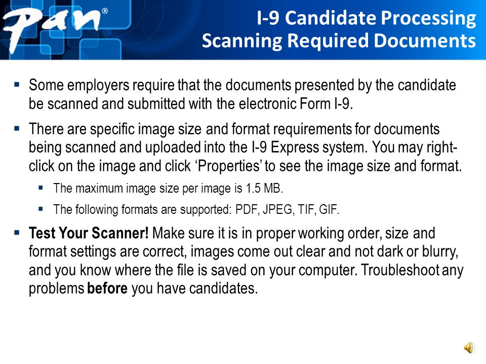 I-9 Candidate Processing Scanning Required Documents