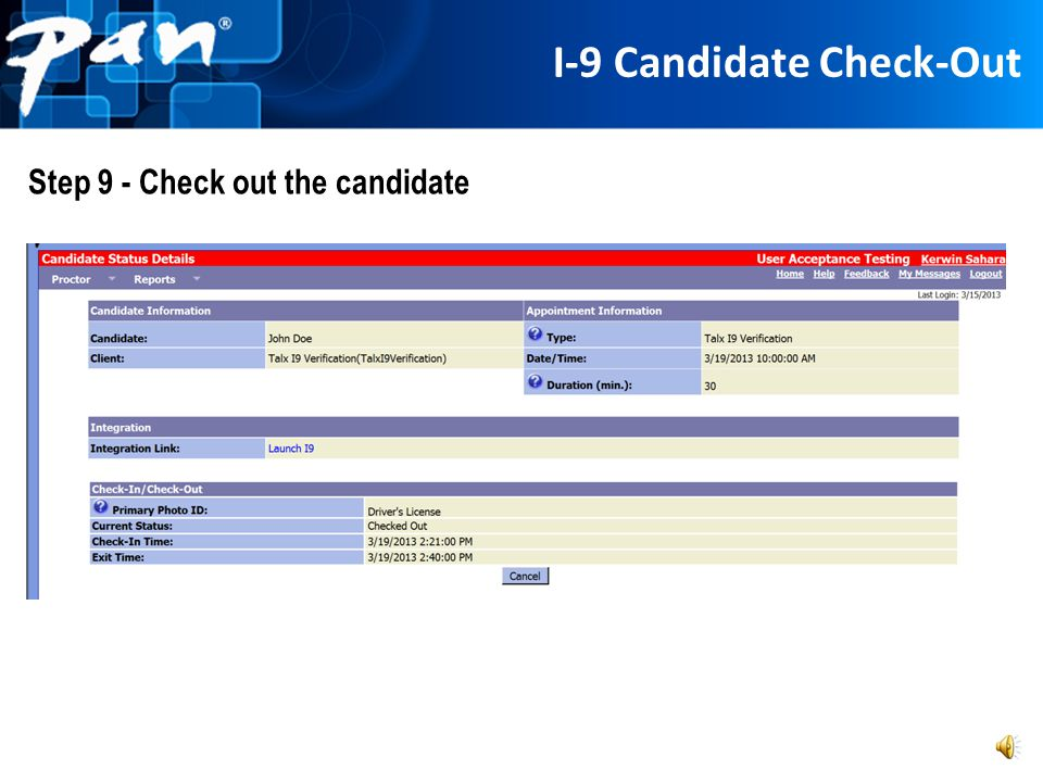 I-9 Candidate Check-Out