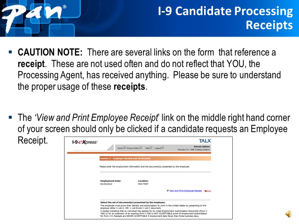 I-9 Candidate Processing Receipts
