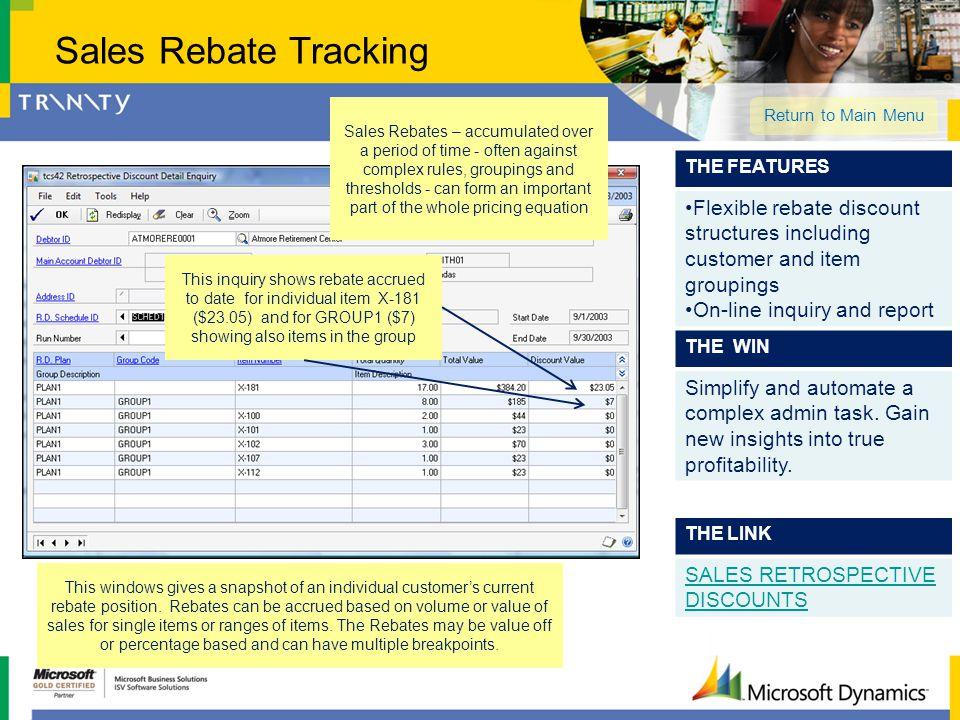 Sales Rebate Tracking
