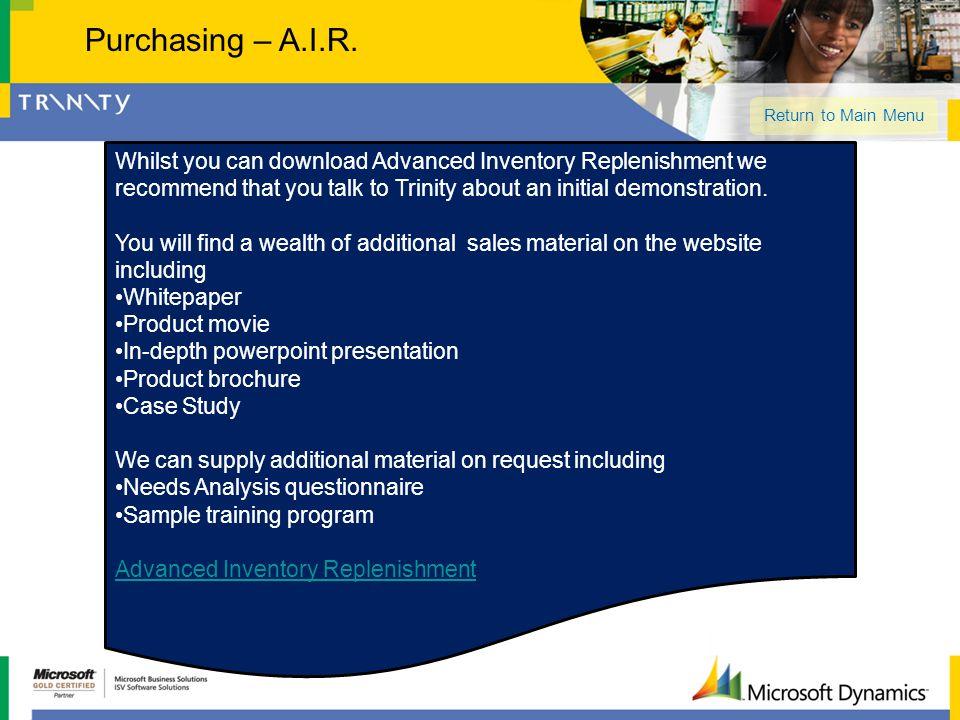 Purchasing – A.I.R. Return to Main Menu.