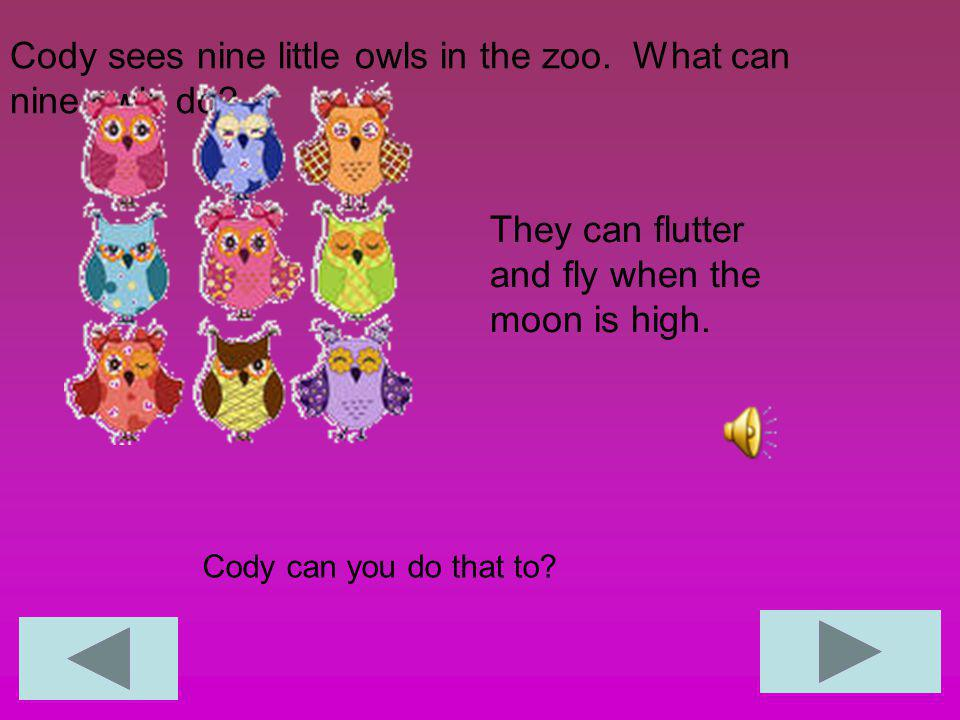 Cody sees nine little owls in the zoo. What can nine owls do