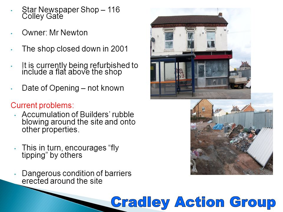 Cradley Action Group Star Newspaper Shop – 116 Colley Gate