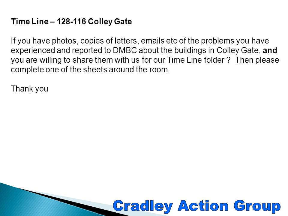 Cradley Action Group Time Line – 128-116 Colley Gate