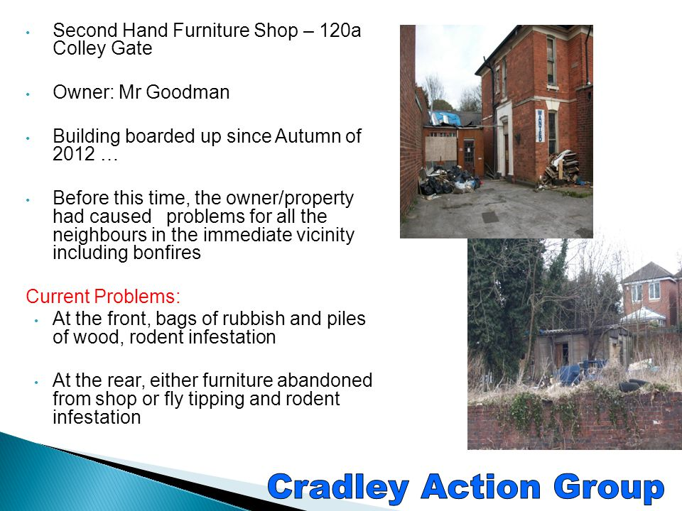 Cradley Action Group Second Hand Furniture Shop – 120a Colley Gate