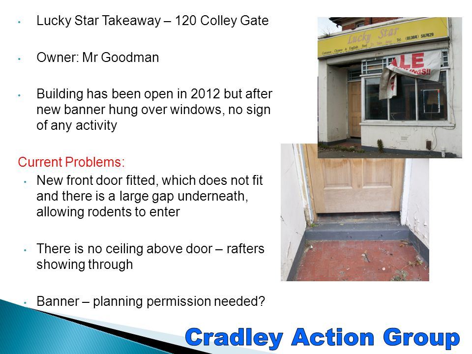 Cradley Action Group Lucky Star Takeaway – 120 Colley Gate