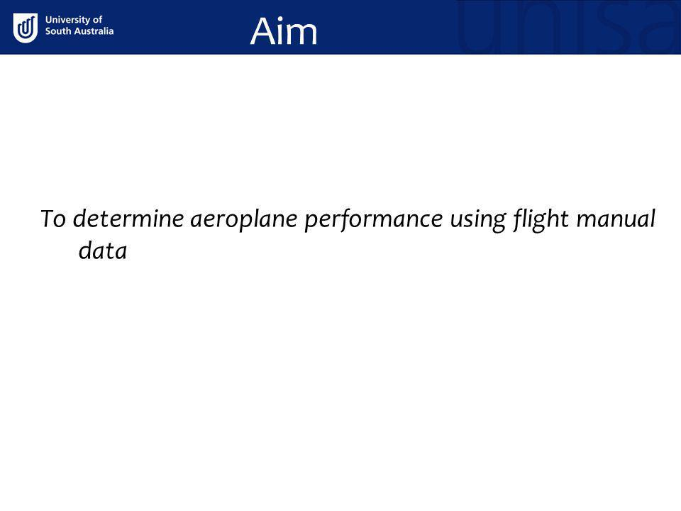 Aim To determine aeroplane performance using flight manual data