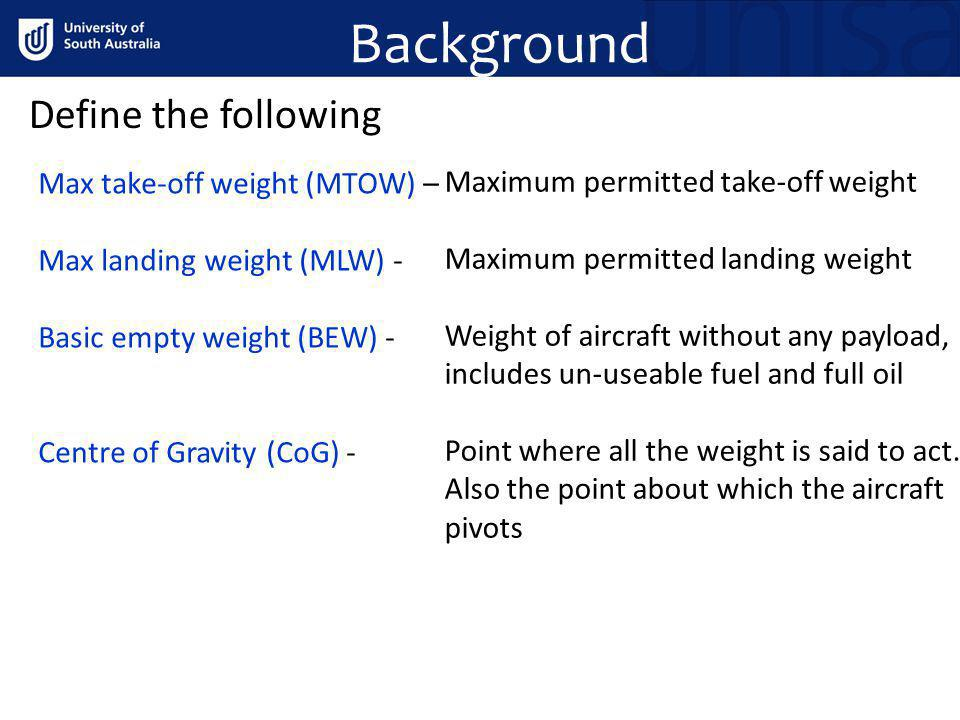 Background Define the following Max take-off weight (MTOW) –
