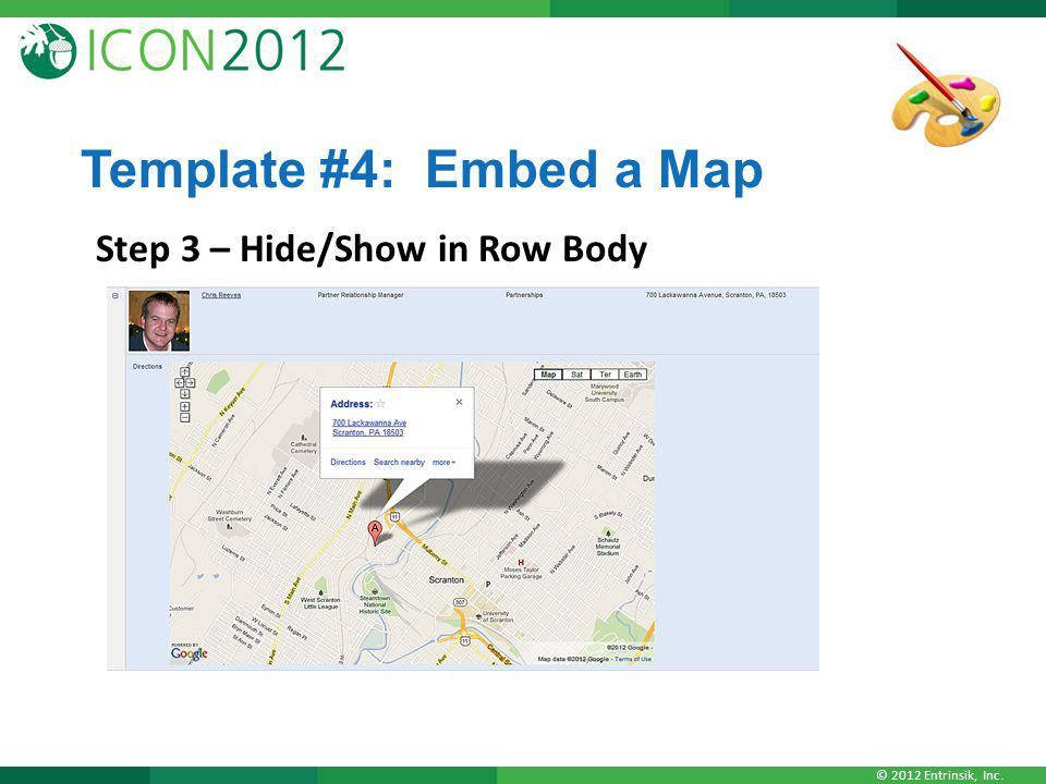 Template #4: Embed a Map Step 3 – Hide/Show in Row Body