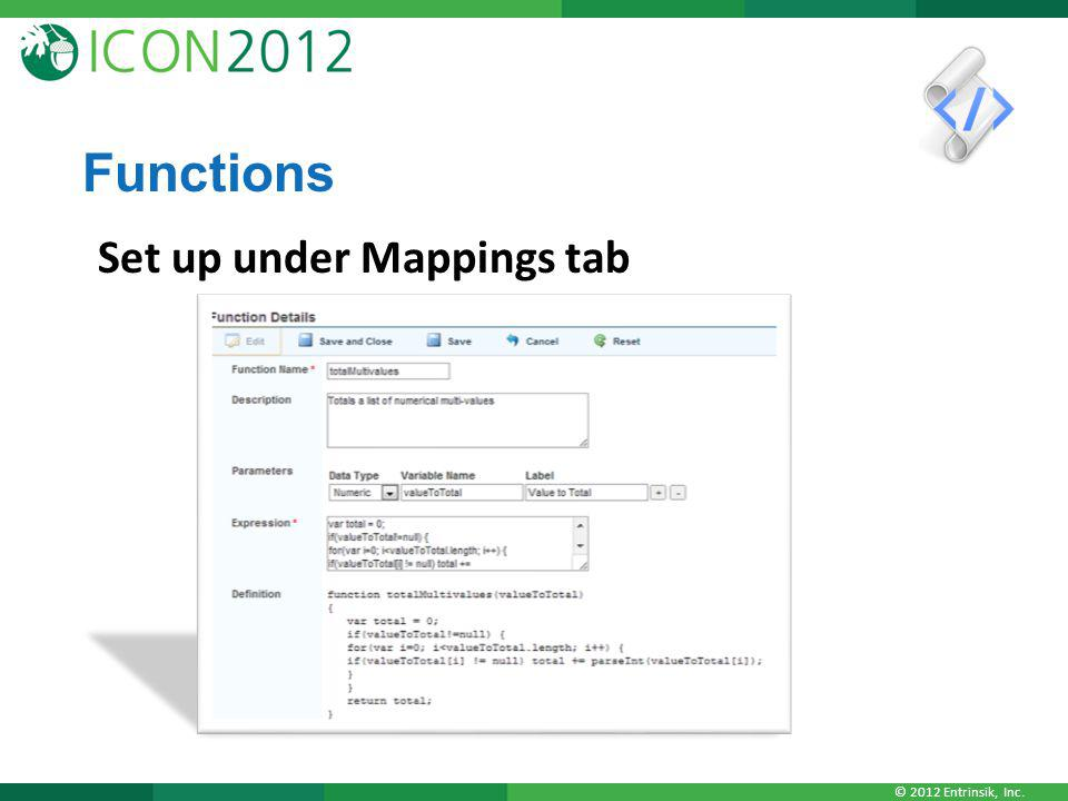 Functions Set up under Mappings tab
