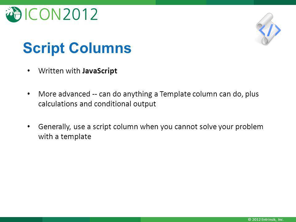 Script Columns Written with JavaScript