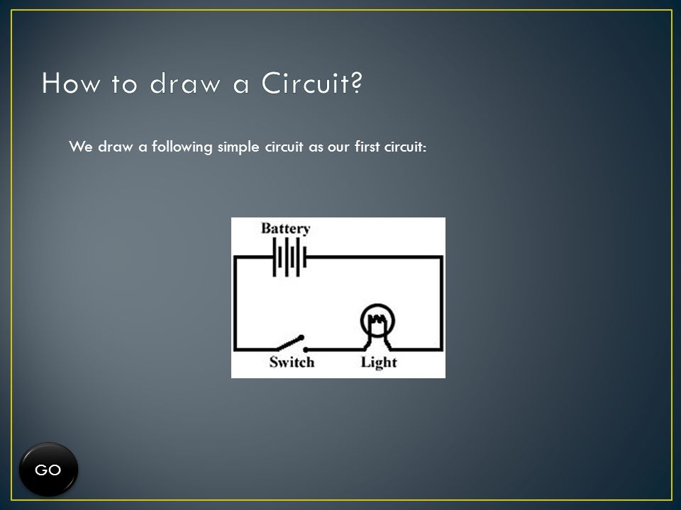 How to draw a Circuit We draw a following simple circuit as our first circuit: GO